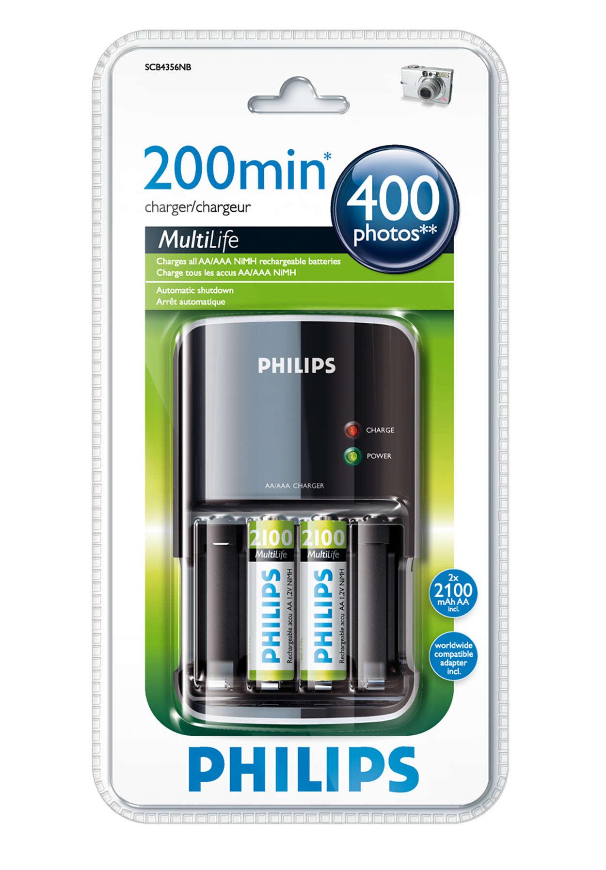 Carga las pilas por completo en un máximo de 200minutos