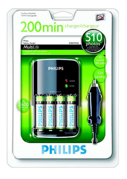 Pełne naładowanie akumulatorów w ciągu 200 minut