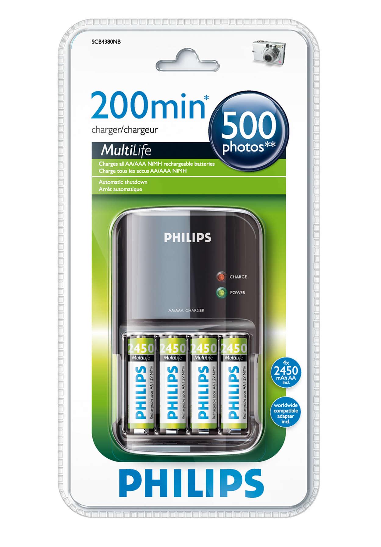 Carrega completamente as suas pilhas num máximo de 200 minutos