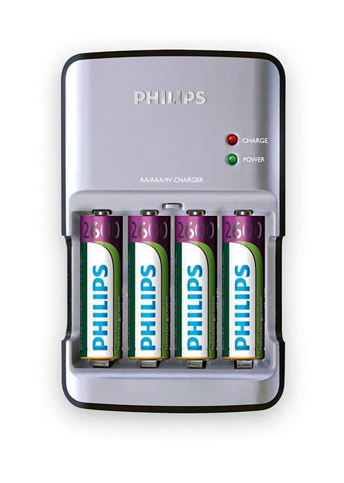 AA-, AAA- en 9 V-batterijen zijn zo opgeladen
