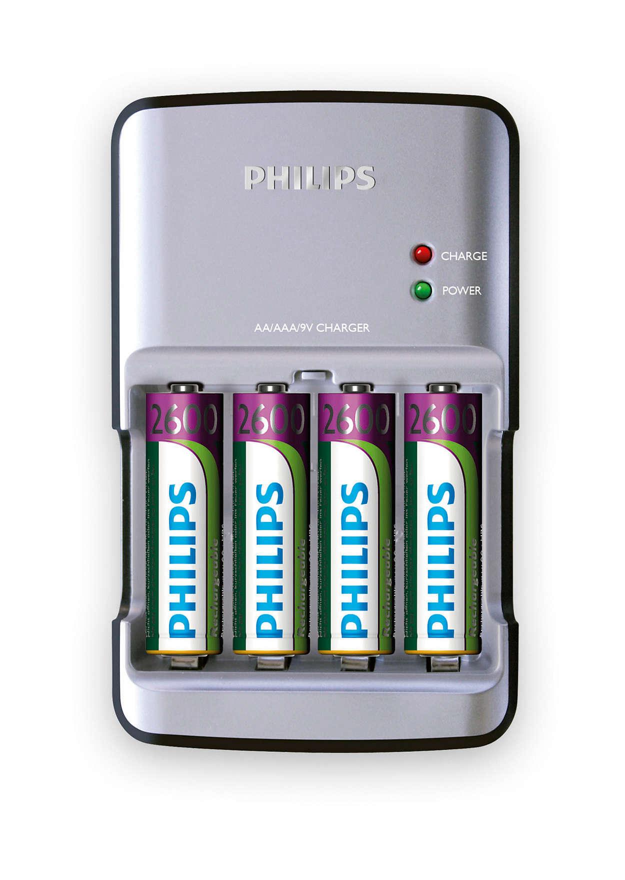 Lad raskt opp AA-, AAA- og 9V-batterier
