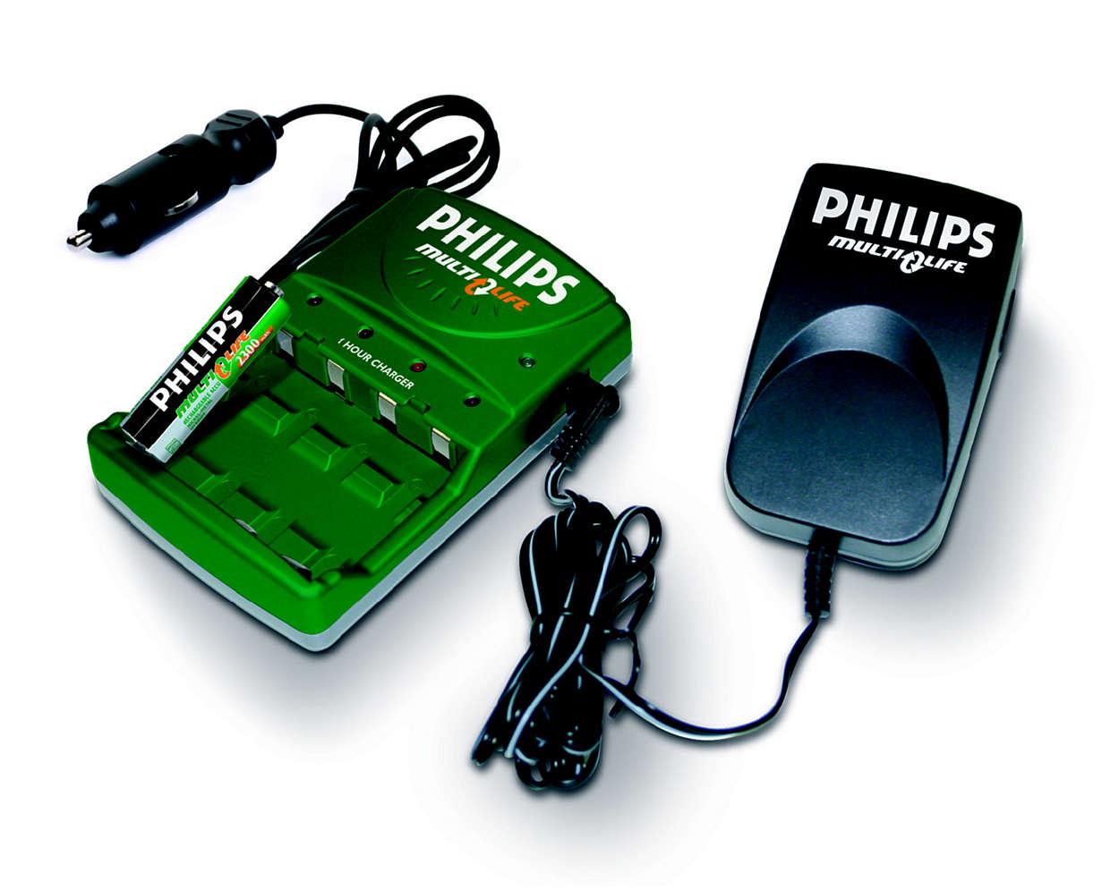 Oplad 1 til 4 AA-batterier fuldt på op til 45 minutter
