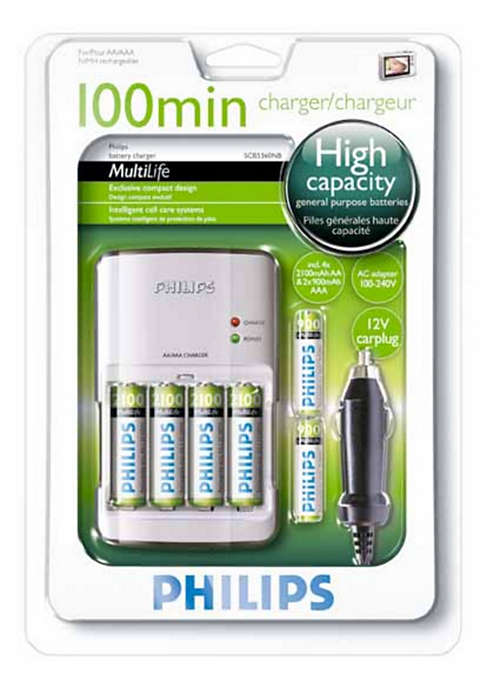 Fully charges your batteries in less than 100 min