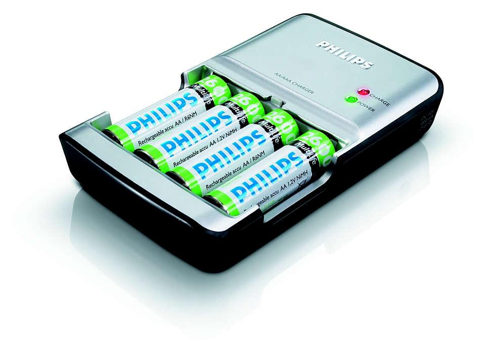 Carregue completamente as suas pilhas num máximo de 90 minutos
