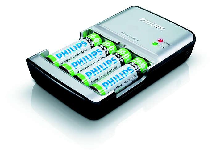 Laddar batterier på upp till 90 minuter