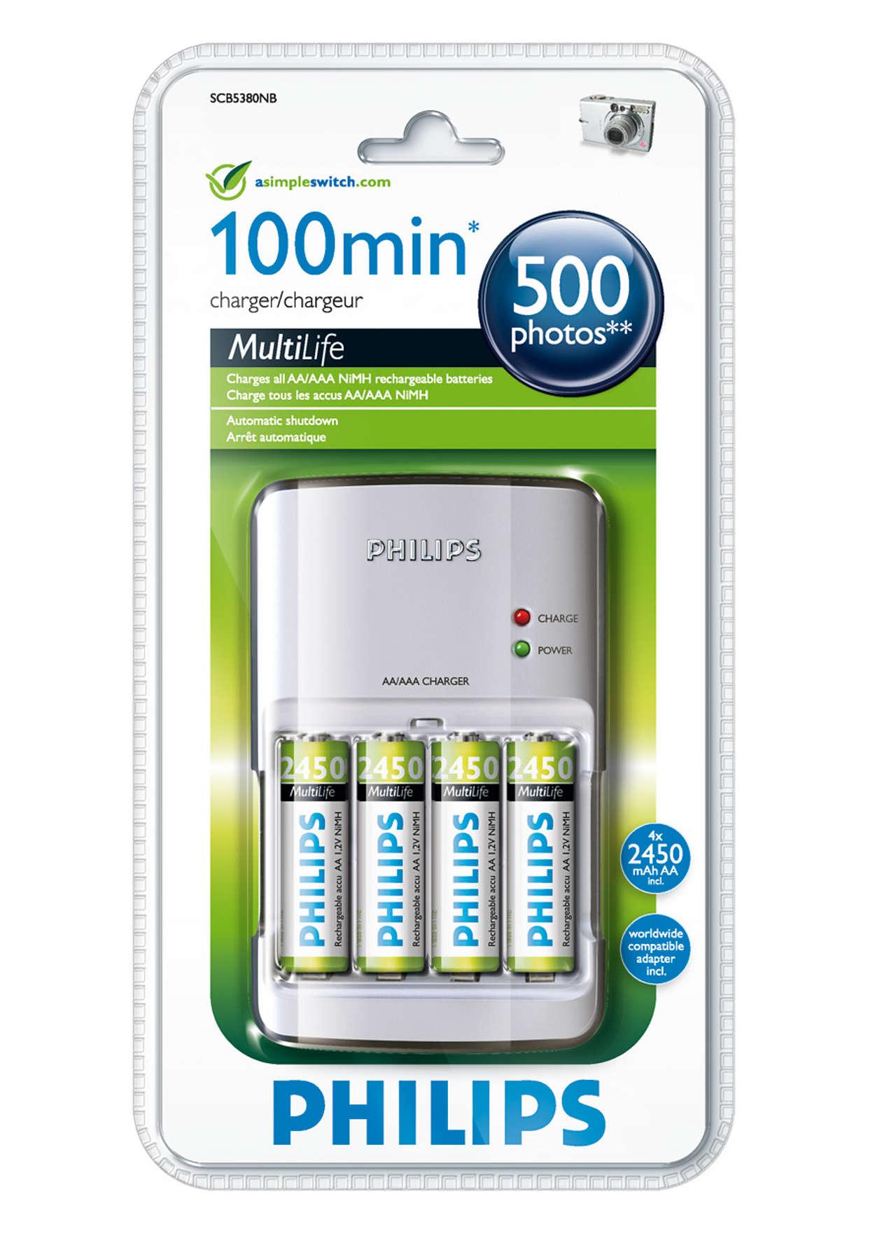 Carregue completamente as suas pilhas num máximo de 100 minutos