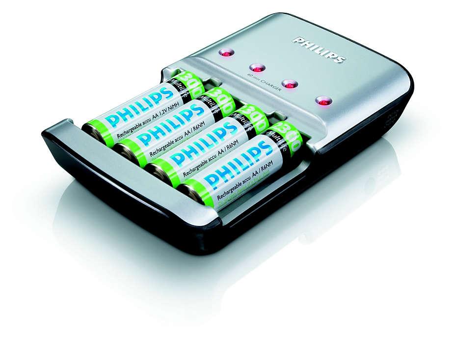 Зарежда напълно от 1 до 4 акумулаторчета тип AA за до 45 минути