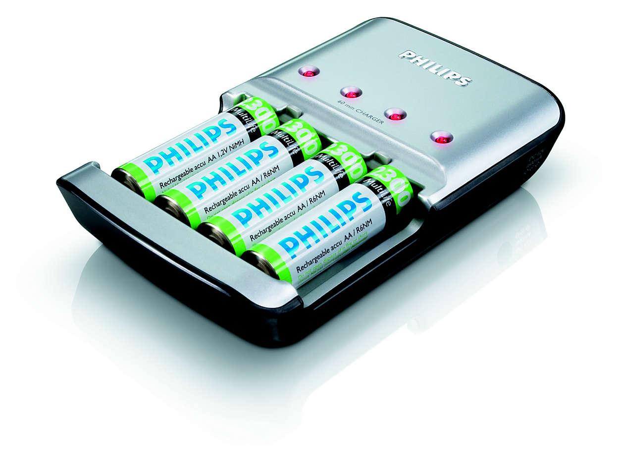 Φορτίζει 1 έως 4 μπαταρίες AA σε 45 το πολύ λεπτά