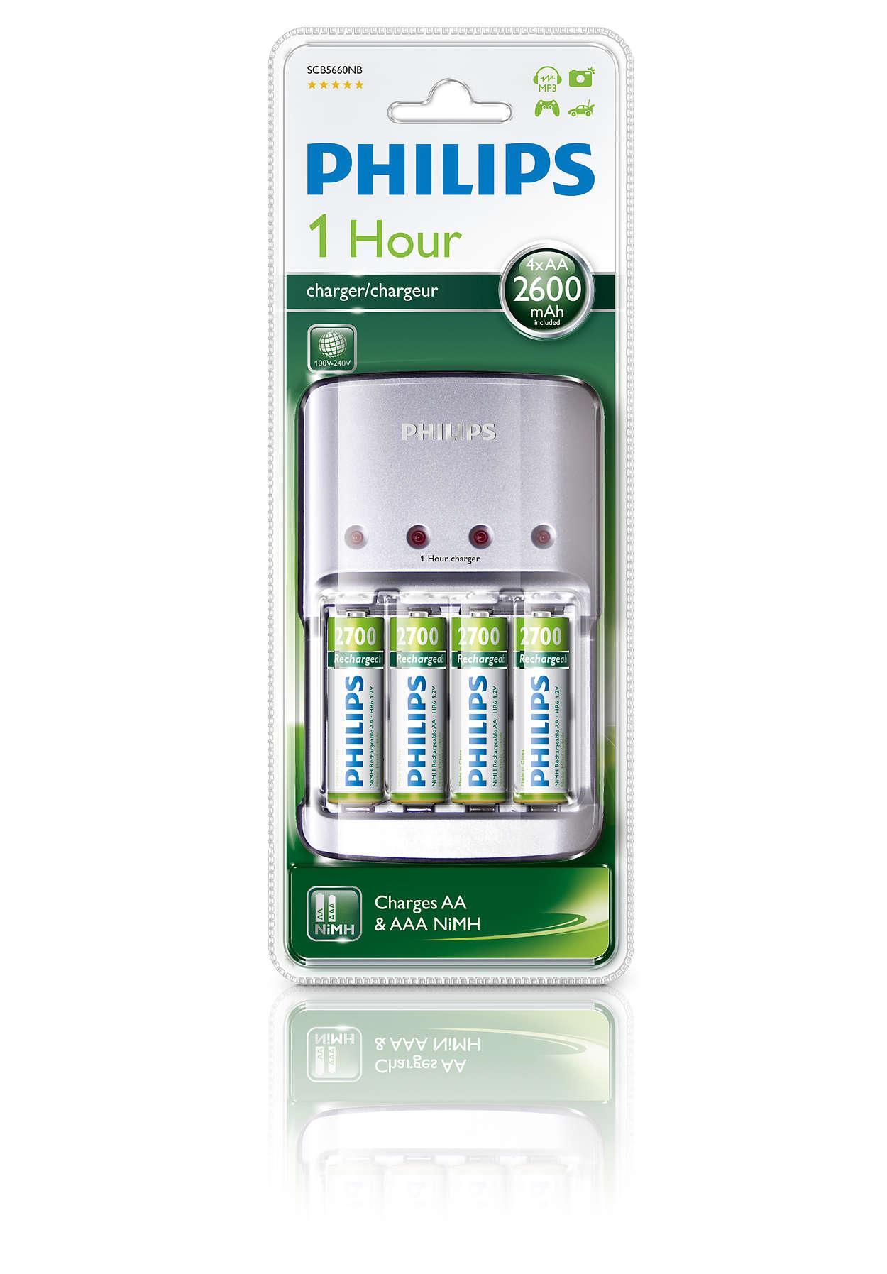Plné nabití 2–4AA nebo AAA baterií během 1hodiny