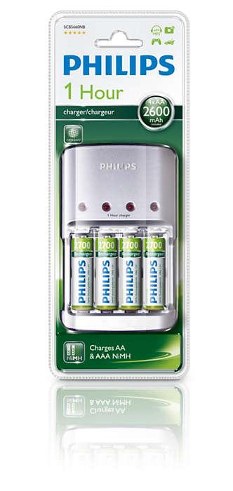 Visiškai įkraukite 2~4 AA / AAA baterijas per 1 valandą