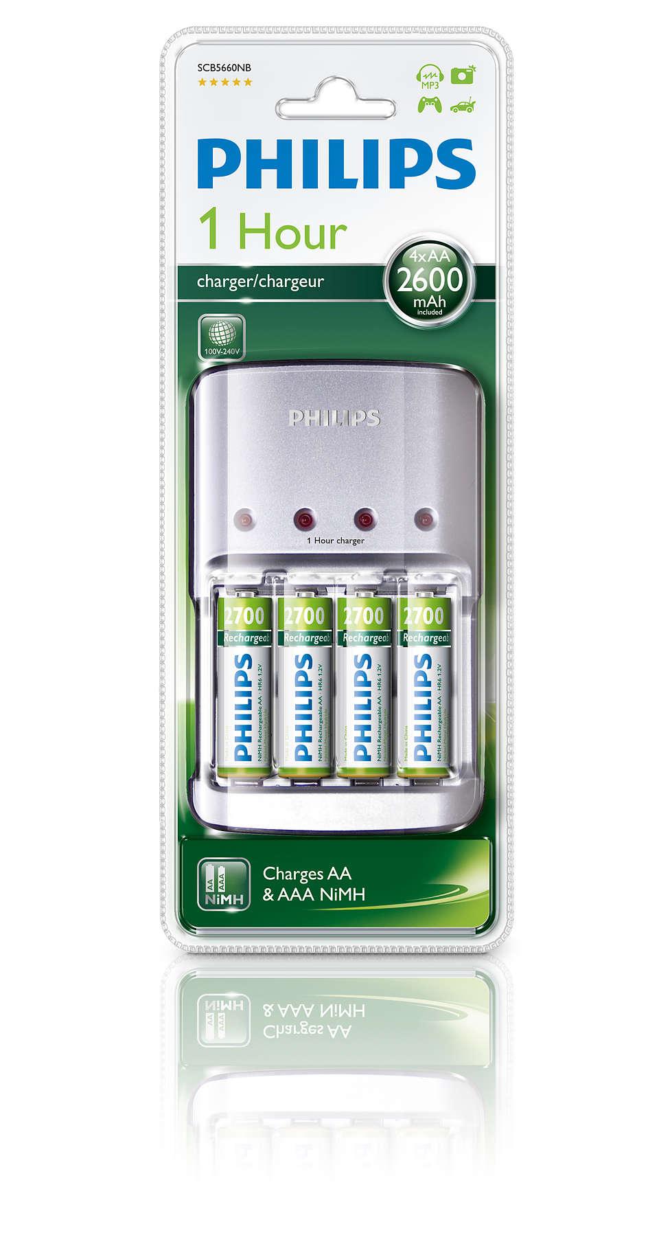 2 tot 4 AA-/AAA-batterijen opladen in 1 uur