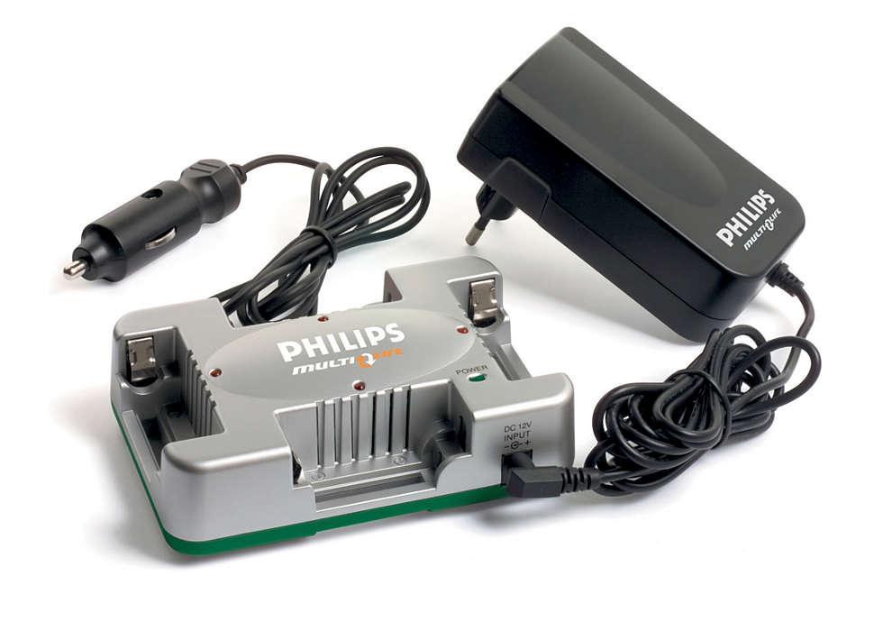 Oplad 1 til 4 AA-batterier på op til 20 minutter
