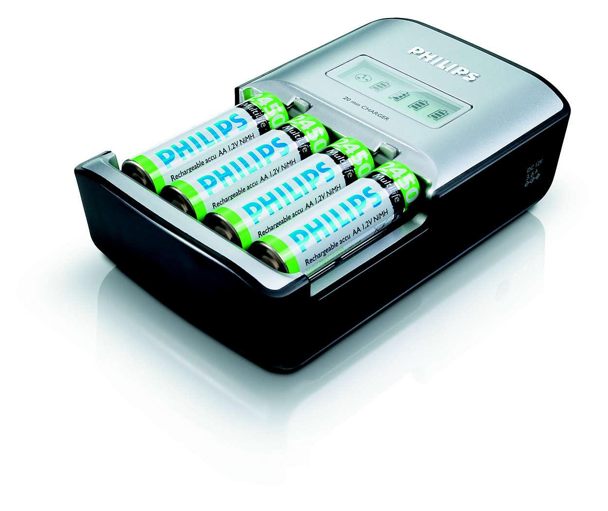 Oplader 1 til 4 AA-batterier fuldt på op til 20 minutter
