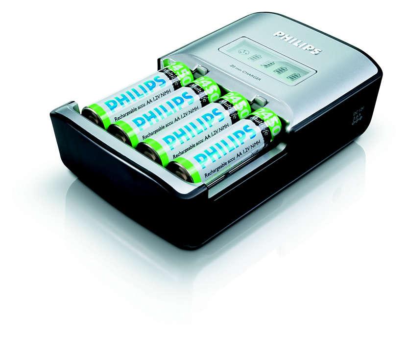 Încarcă complet până la patru baterii AA în maxim 20 de minute