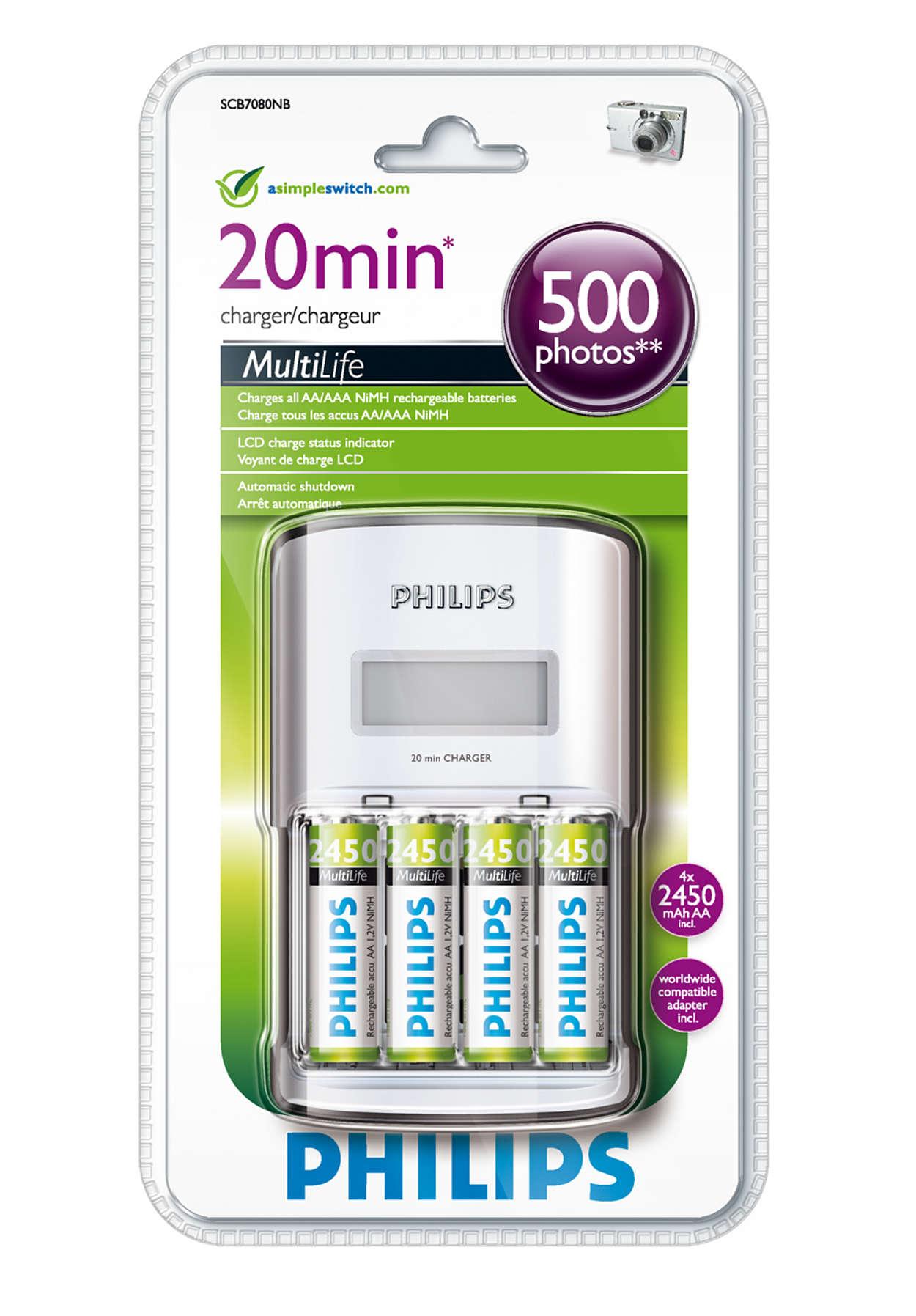 Carga completa de entre 1 y 4 pilas AA en un máximo de 20 minutos