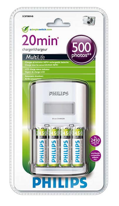 Lader ett til fire AA-batterier på opptil 20 minutter