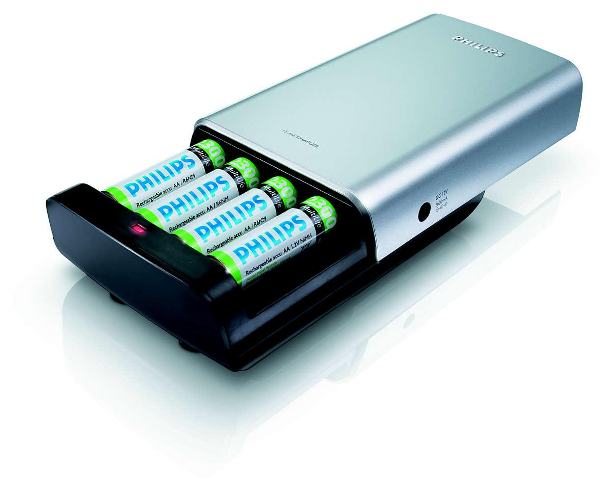 Pilnībā uzlādē 1–2 baterijas 12 minūtēs.
