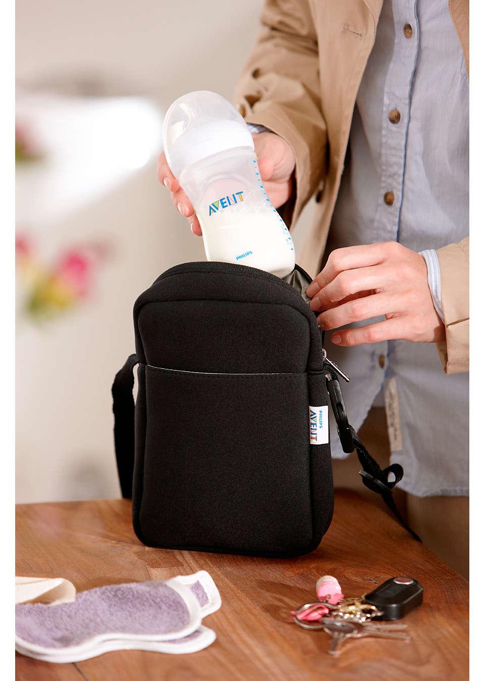 Philips AVENT Neoprene ThermaBag Black SCD150//60 for Feeding Bottles NEW