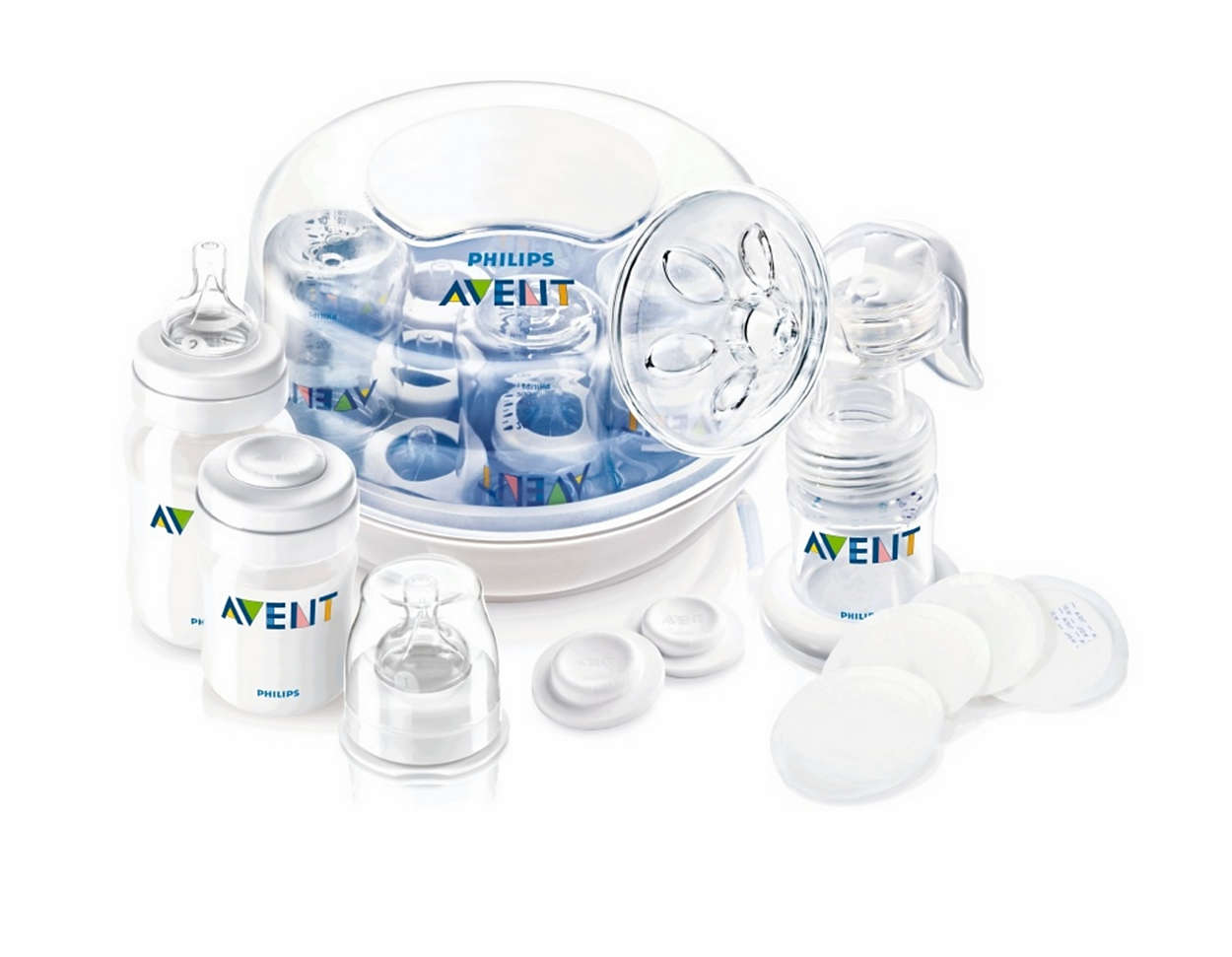 Välineitä rintaruokintaan ja steriloimiseen