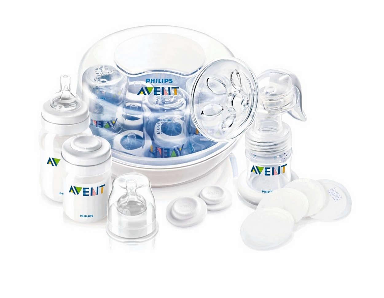 Acessórios essenciais para amamentação e esterilização