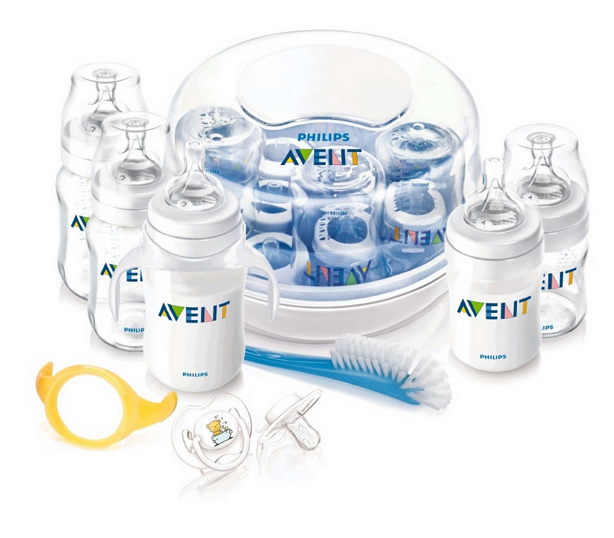 Grundausstattung zur Flaschenfütterung und Sterilisation