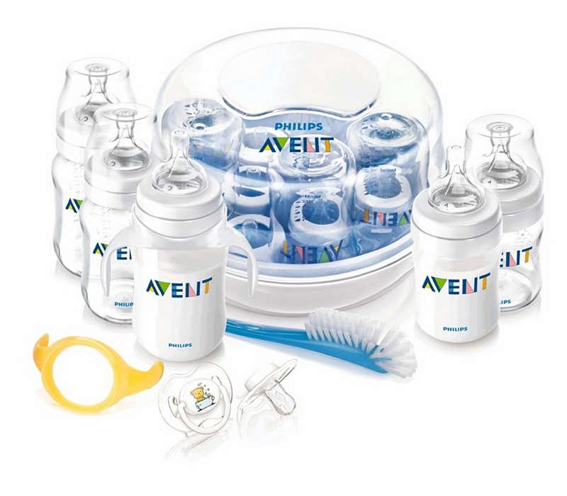 Zawiera artykuły potrzebne do karmienia butelką i sterylizacji