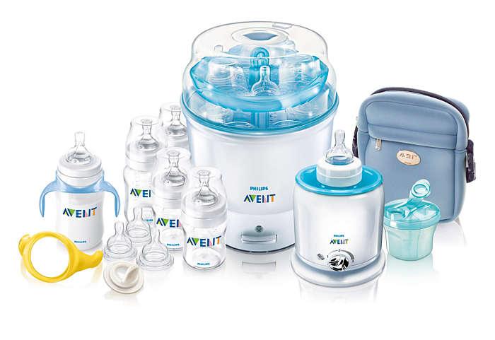 Everything you need to sterilise and bottle feed