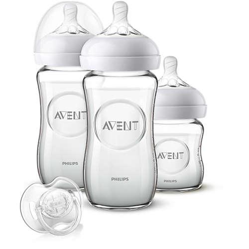 Avent Startsett for nyfødte med glassflaske