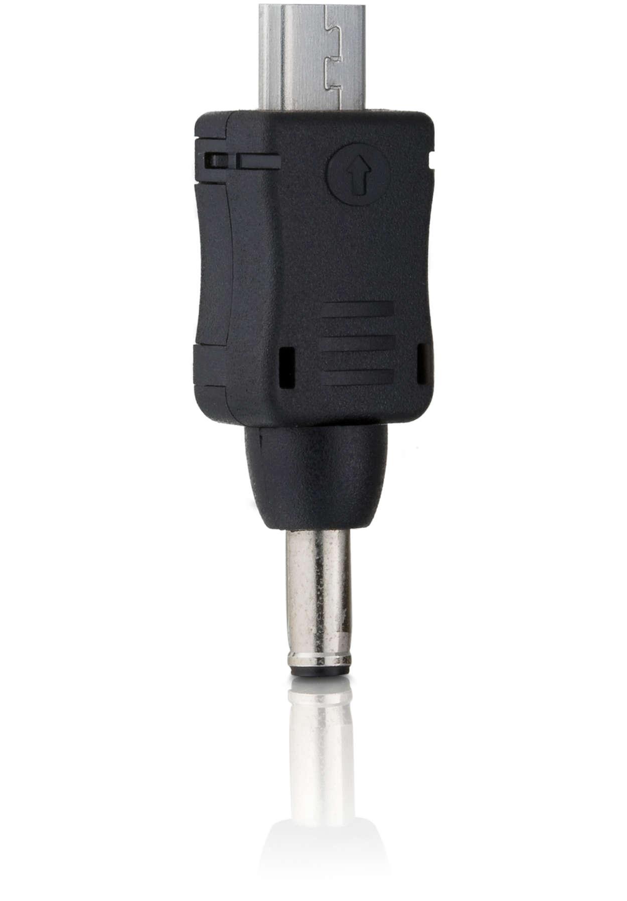 Aansluitplug voor telefoons met een micro USB-aansluiting