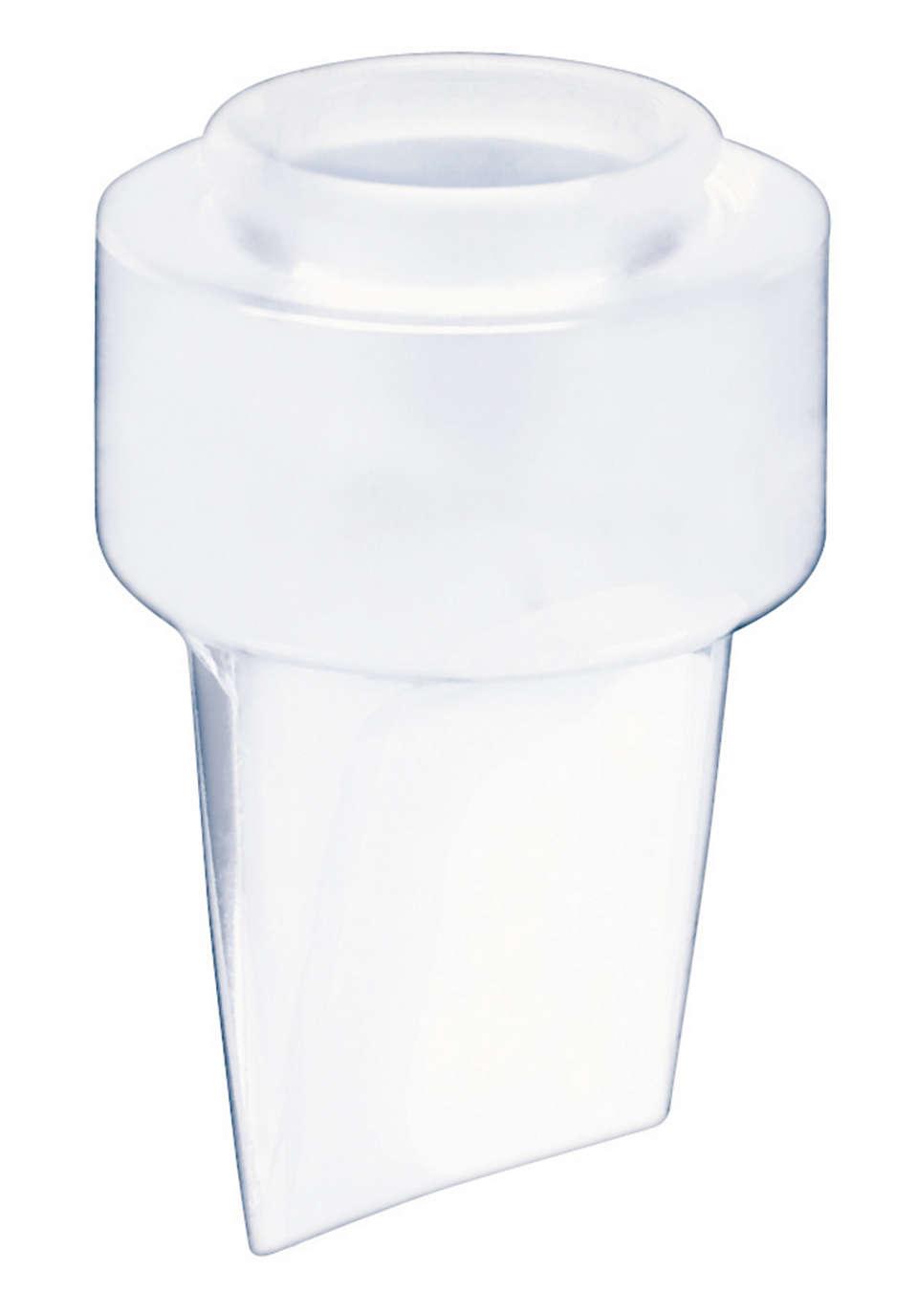 De melk stroomt rechtstreeks in de fles