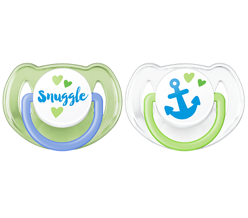 Philips Classic Pacifier 6-18 Months, Blue/Green, Anchor & Snuggle