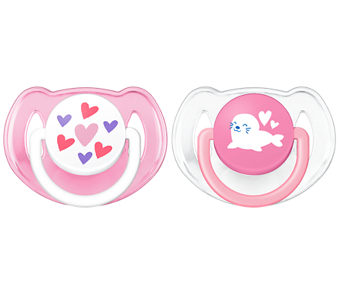 Philips Classic Pacifier, 6-18 Months, Pink Hearts & Seal
