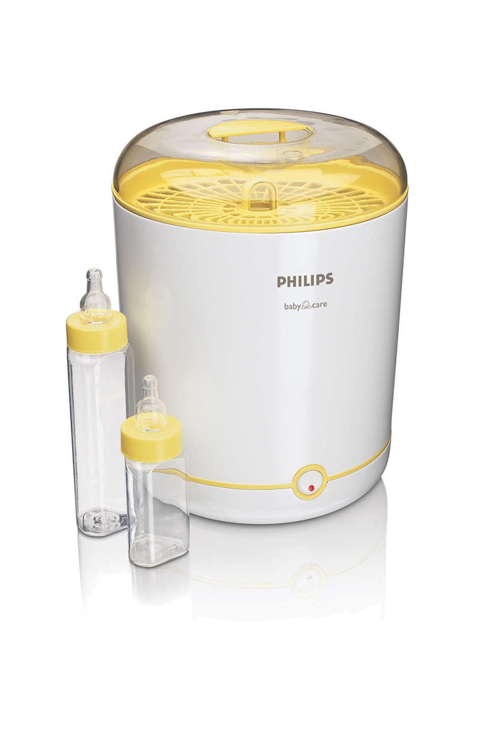 Sterilizează 9 biberoane pentru hrănire pe o zi întreagă