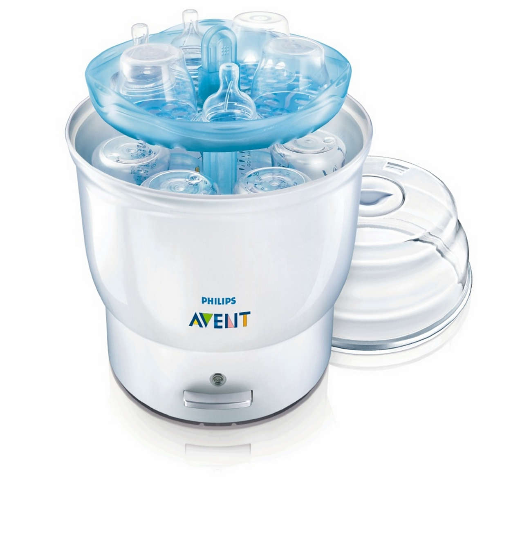 Steriliseert 6 flessen in 8 minuten