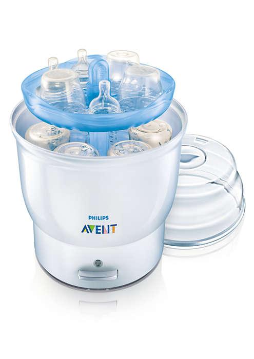 Steriliserer seks flasker på åtte minutter