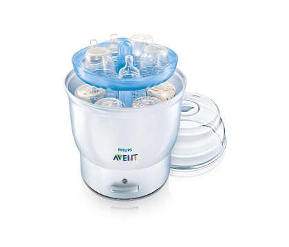 Steriliserar 6 flaskor på 8 minuter