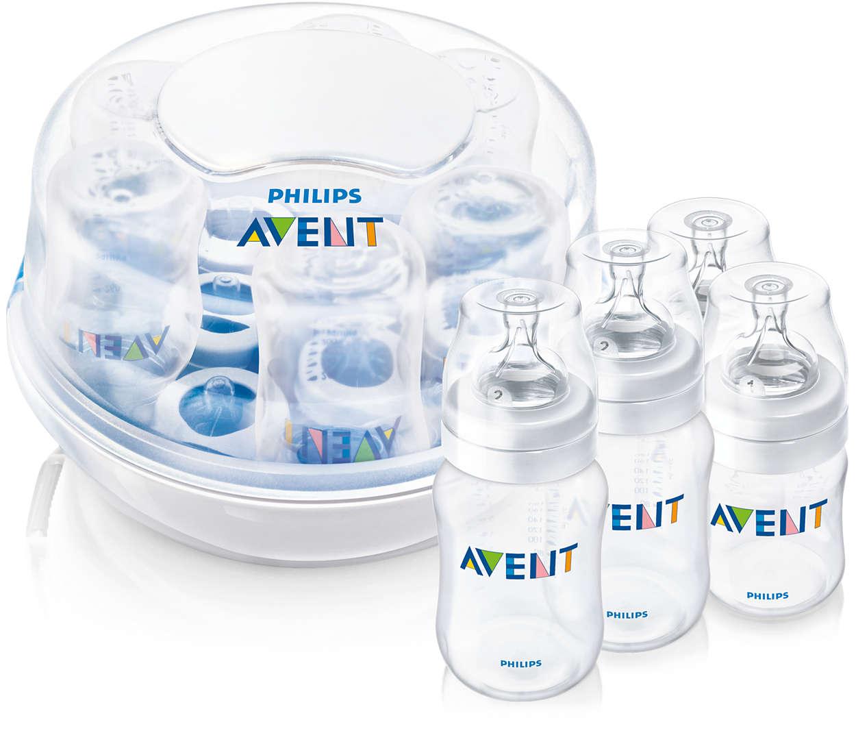Steriliserer 6 flasker på 2 minutter*