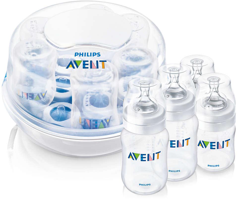 Sterilizuoja 6 buteliukus per 2 minutes*