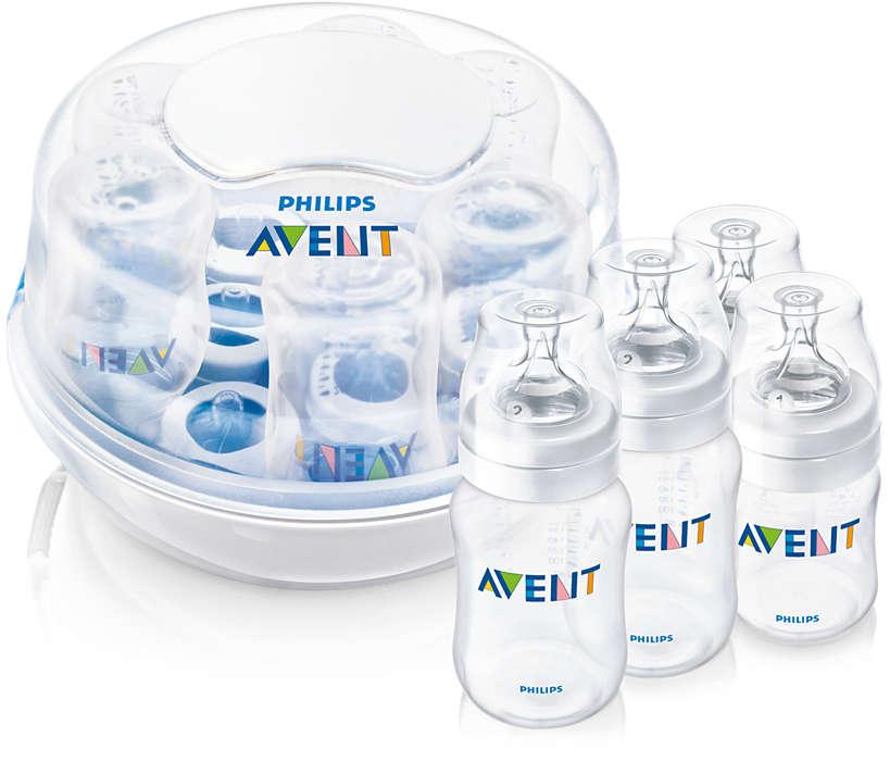 Steriliserer seks flasker på to minutter*