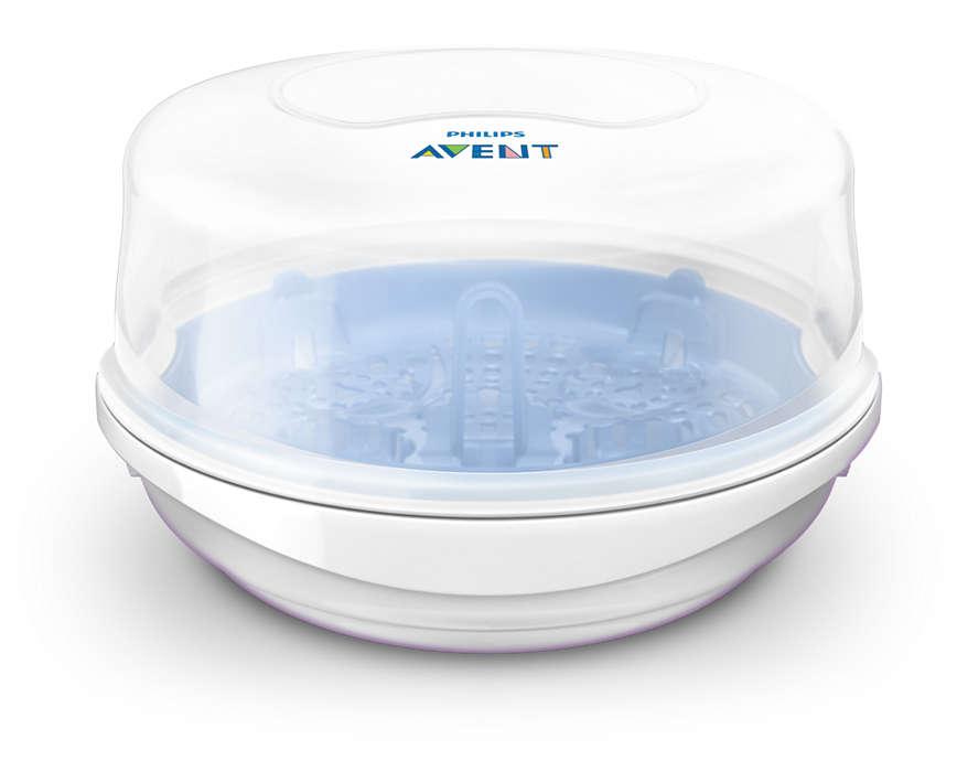 Greitas mikrobangų krosnelės garų sterilizatorius