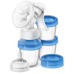 Avent Käsikäyttöinen rintapumppu ja 3 kuppia