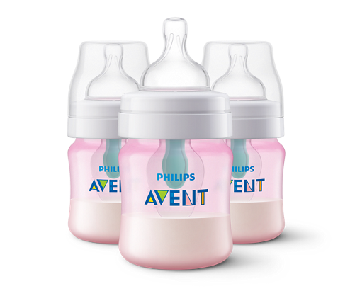 Philips Anti-colic Bottle with AirFree Vent, 4oz, 3 pack, Pink