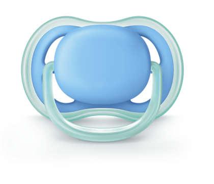 Uma chupeta leve com ventilação para peles sensíveis
