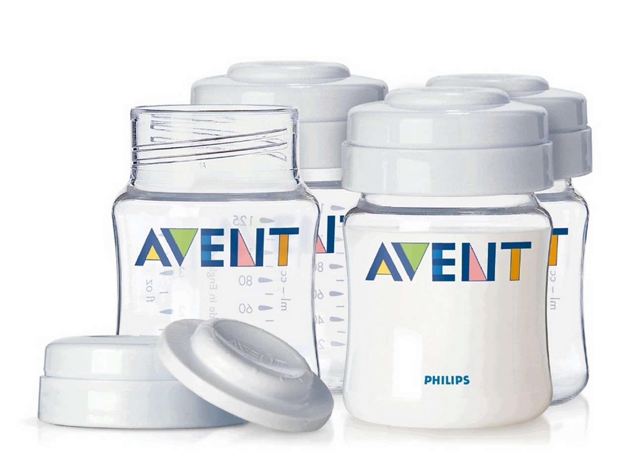 Prácticos recipientes para almacenar leche materna