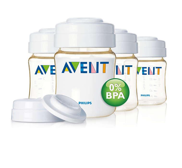 Praktische, BPA-vrije bewaarflessen voor moedermelk