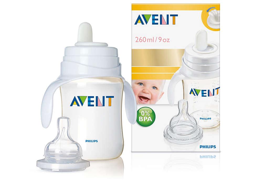 O primeiro passo do bebé para utilizar um copo
