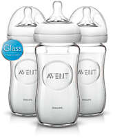3 Bottles 8oz/240ml Natural glass baby bottle