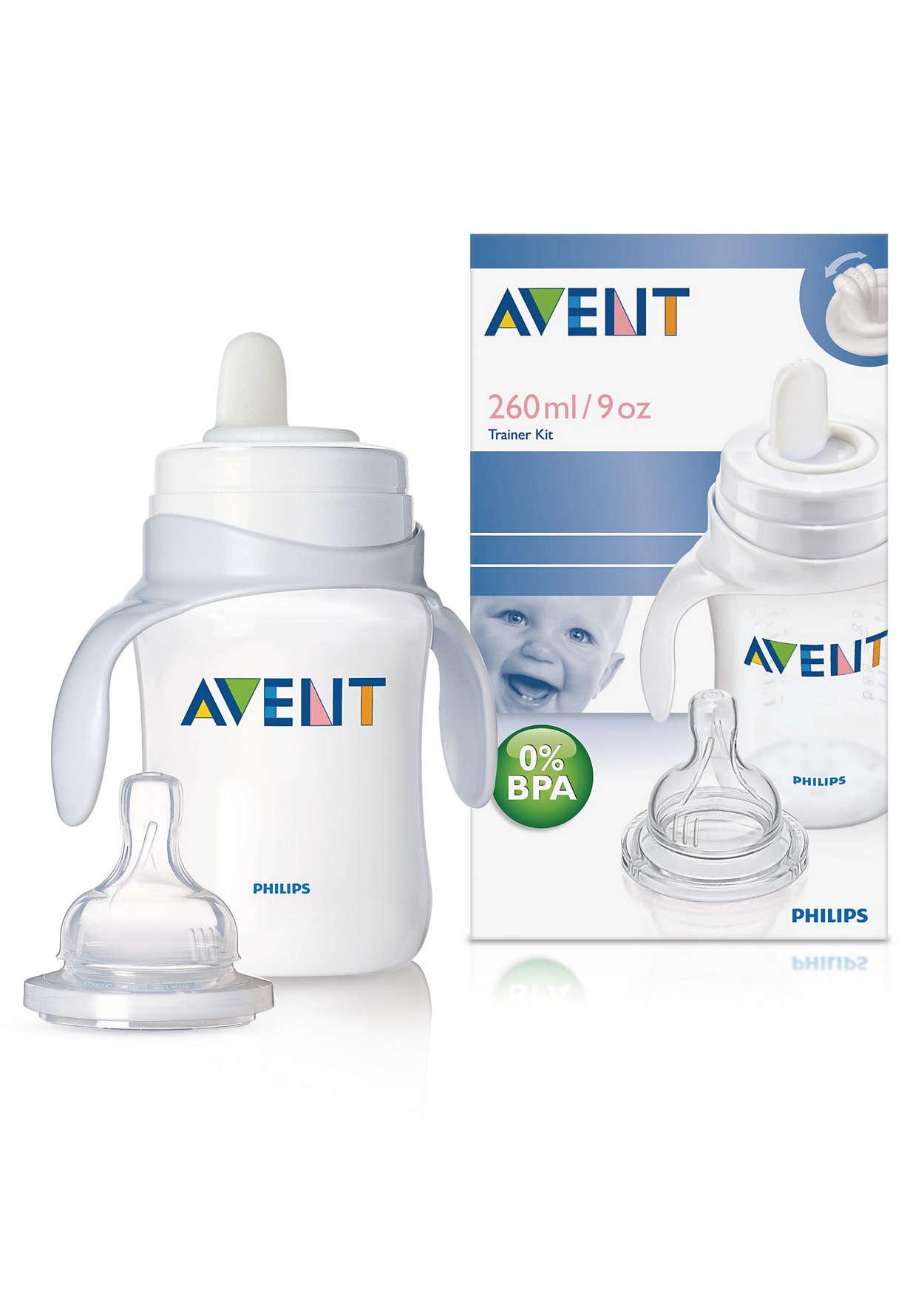 Prvý krok dieťaťa v používaní pohára
