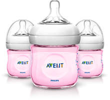 3 Bottles 4oz/125ml Natural baby bottle