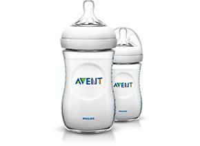 Philips Avent Natural baby bottle SCF693 27 2 Bottles 9oz 260ml Slow flow nipple 1m